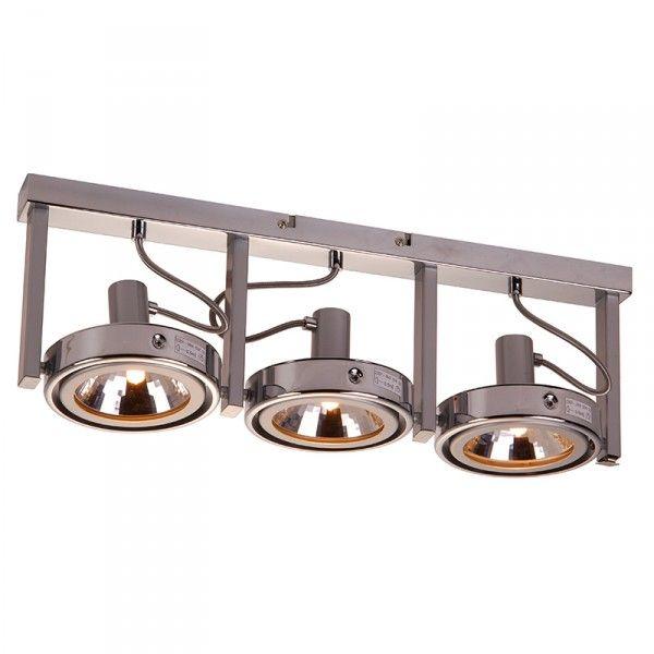 Industriele halogeenspot met drie grote spots en een mooi strak design. ✓Gratis verzending ✓ Snelle levering ✓ Keurmerk ✓ Garantie