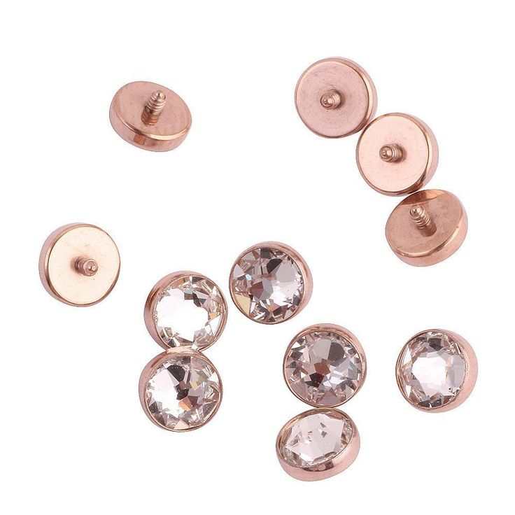 Titanium Rose Gold Clear Crystals Dermal Anchor Tops Gems Surface Body Piercings #Xpircn