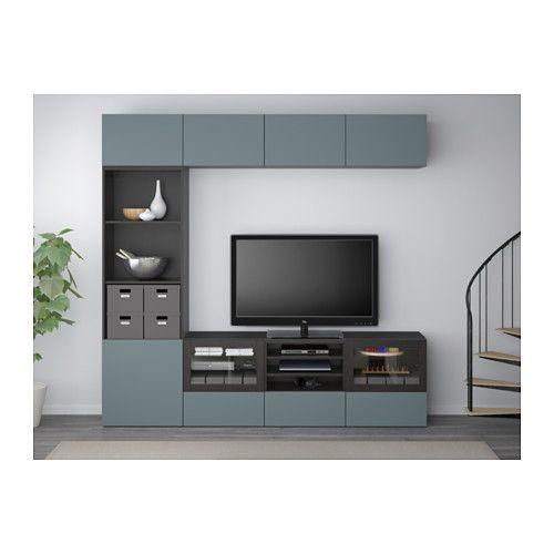 БЕСТО Шкаф для ТВ, комбин/стеклян дверцы - черно-коричневый/Вальвикен серо-бирюзовый, прозрачное стекло, направляющие ящика, плавно закр - IKEA