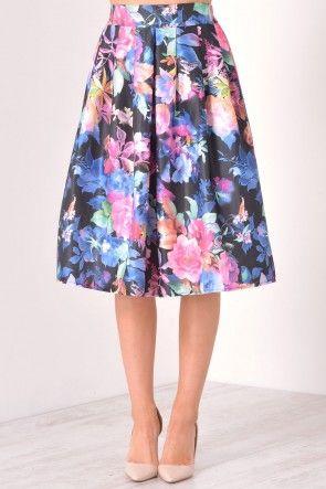 Ella Floral Skirt in Black