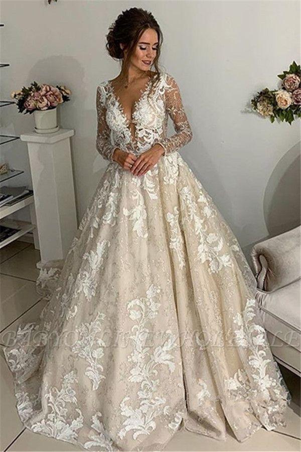 Glamorous Lace Appliques V Neck Wedding Dresses Sheer Long Sleeves Backless Floral Bridal Gowns Ww Sheer Wedding Dress Long Wedding Dresses Wedding Dresses