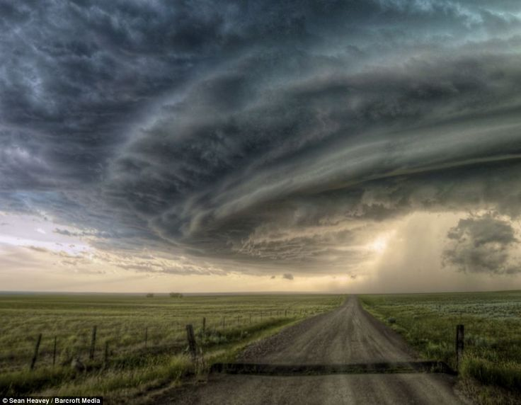 A super cell thunderstorm crosses a path and continues unabated across the plains on July 28th