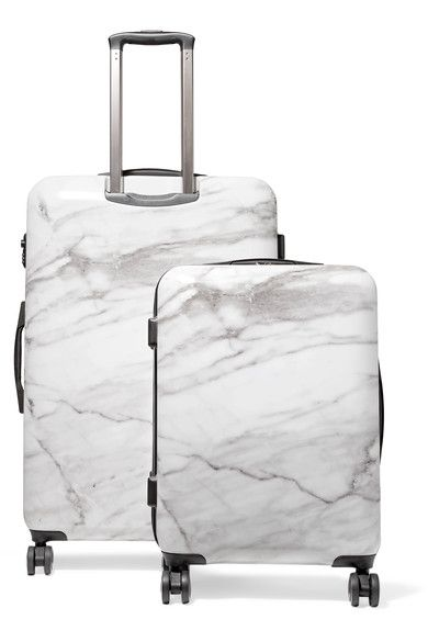 Gray and white acrylonitrile butadiene styrene and polycarbonate Combination lock fastening, two-way zip fastenings along top and sides Designer color: Milk Marble Comes with dust bag Imported
