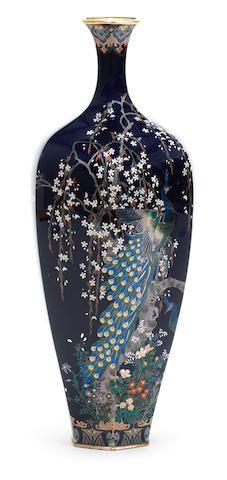 A slender octagonal cloisonné-enamel vase   By Ota Tamejiro (active Meiji era), Meiji era (1868-1912), late 19th/early 20th century