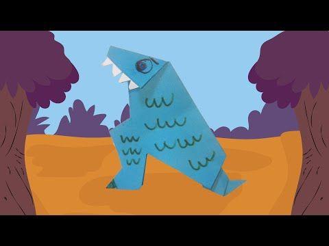 Dinosaurus knutselen door te vouwen, knippen en te plakken.