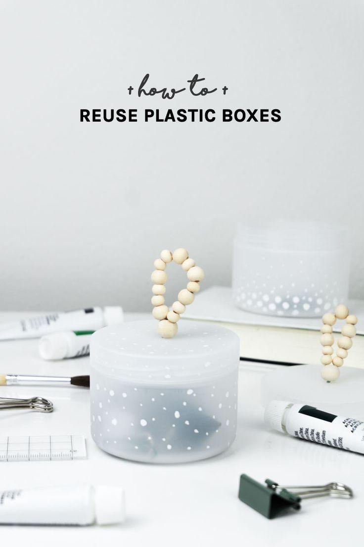 DIY Deko: Upcycling Idee Mit Plastikverpackungen | Mit Hilfe Von Holz U0026  Markern Werden Plastikdosen