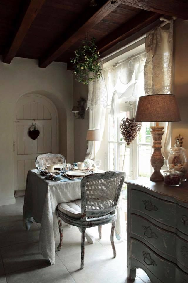 White provincial dining chairs...with a simple, long-ish linen tablecloth ~ French look