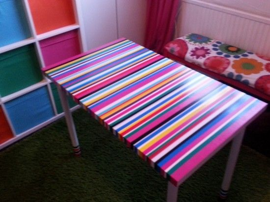 Materials: ADILS legs, Colour duct tape, LINNMON table top I have a small space and limited...