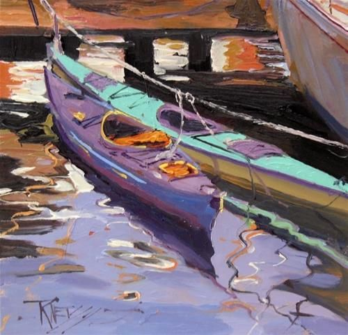 """Daily Paintworks - """"Double Kayaks  oil painting by Robin Weiss"""" - Original Fine Art for Sale - © Robin Weiss"""