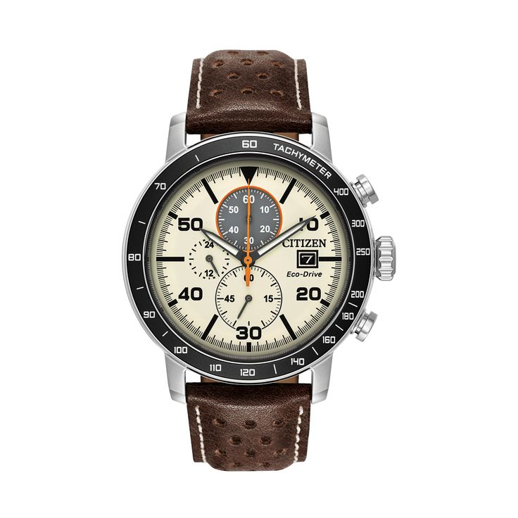 BRYCEN  Modelo: CA0649-06X  Este elegante reloj cuenta con caja de acero inoxidable, bisel chapado en aluminio negro, correa de cuero color marrón nogal, carátula marfil, cuenta con cronógrafo de 1/5-segundo que mide hasta 60 minutos, tiempo de 12/24 horas y fechador.