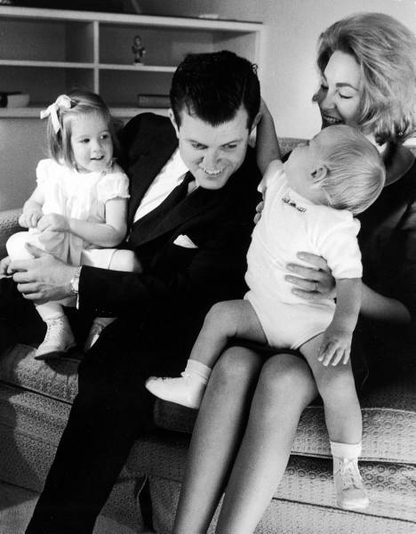 Newly elected senator Edward  Kennedy  with wife Joan  and their children Kara  and Ted Jr.