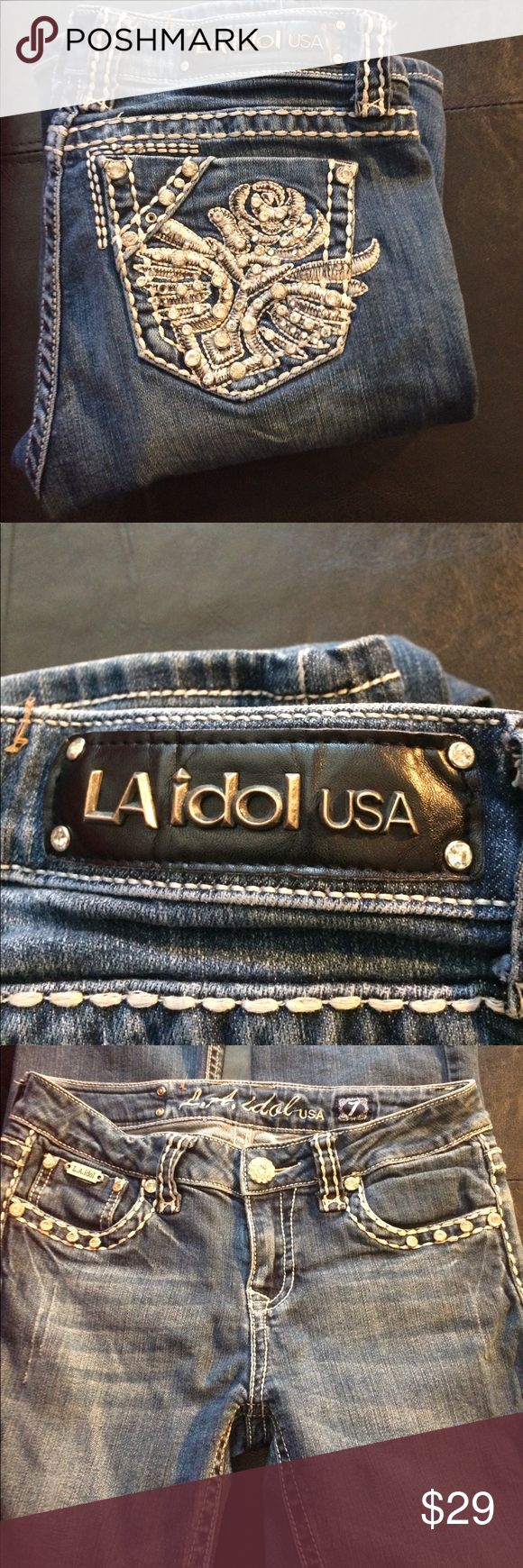 🎉LA Idol USA👖BLING! BLING Sz 7 W30 L34 EUC LA Idol👖 in excellent condition bling bling bling everywhere.  size 7 W30 L34. 97% cotton 3% elastin.  Very cool bling jeans have no marks on them if you want it now it's the time to buy it LA Idol Jeans Straight Leg
