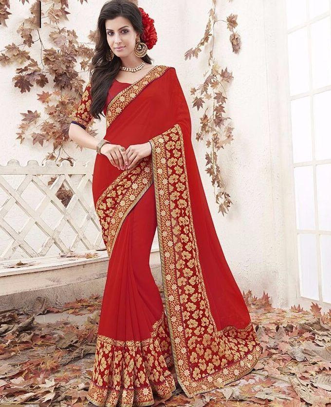 Red Jari Work & Thread Work Sarees Online Shopping