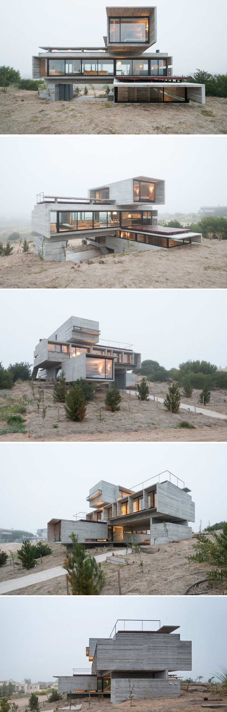 Architect Luciano Kruk designs a house made of three stacked forms of rough unfinished concrete overlooking a golf course in Argentina #containerhome #shippingcontainer