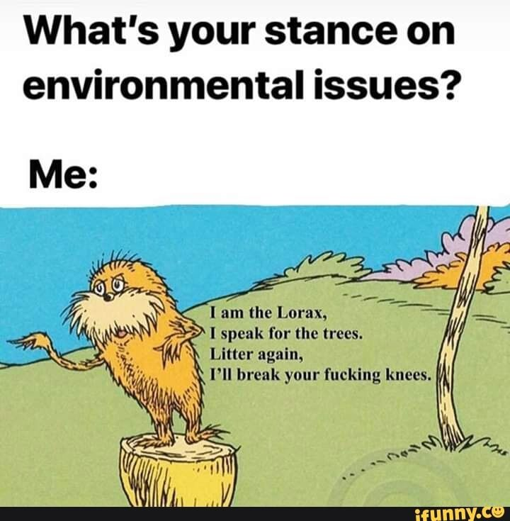 What S Your Stance On Environmental Issues I Am The Lorax I