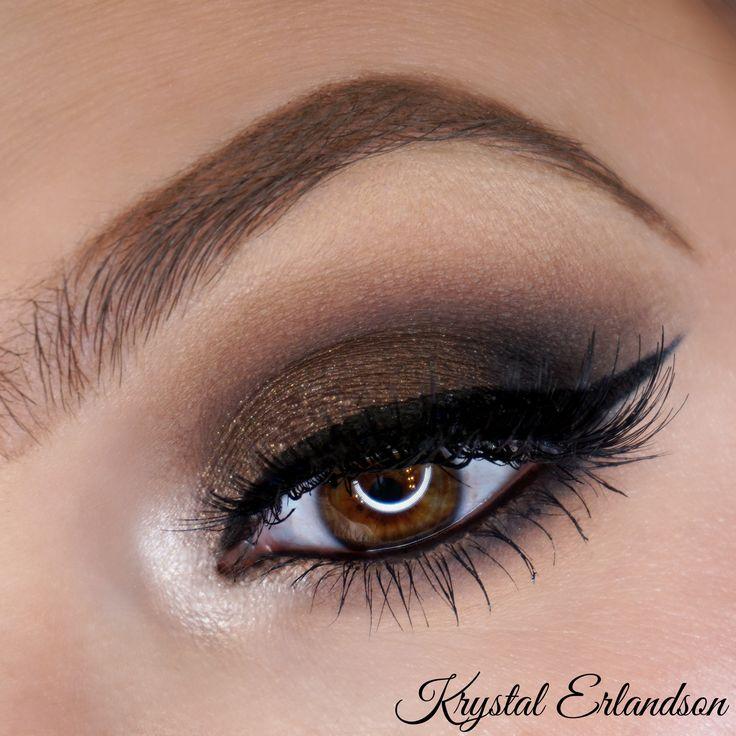 Holiday Glam Makeup Tutorial using Makeup Geek Eyeshadows in Americano, Corrupt, Creme Brulee, and Mocha. Makeup Geek Eyeliner - Obsidian. Makeup Geek Pigment Utopia. Look by: Krystal Erlandson.