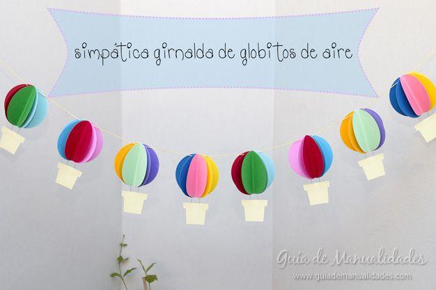 Una bonita guirnalda a todo color de globitos de aire  #manualidades #DIY
