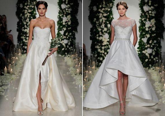A tervezőnő a sliccelt vagy aszimmetrikus fazonokat is kedveli, de szerinte ennyi extremitás bőven elég egy esküvői ruhára.