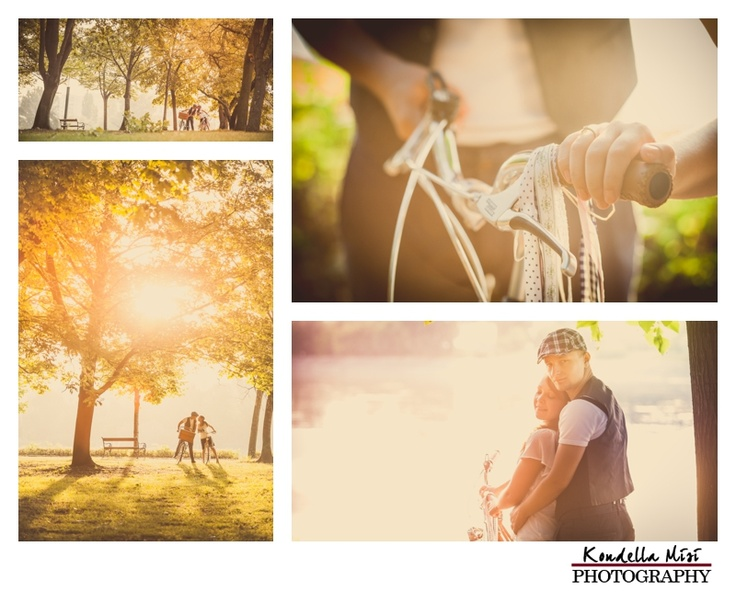 Budapest vintage engagement session love photography with bicycle in the morning at sunrise