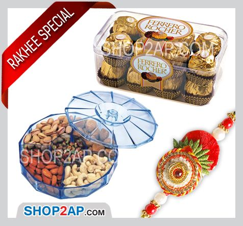 Express love and effection to your brother by sending rakhi with ferrero rocher chocolates and dry fruits box . Send Rakhi Combos Online Hyderabad and wish them to always be happy . So make rakhi your celebration special for your brother by sending him through Shop2Hyderabad.com and make him happy with your gift .