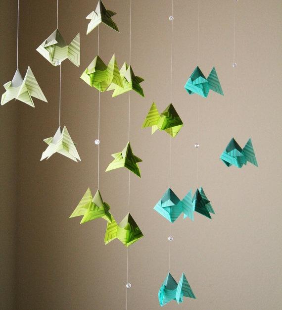 Origami Mobile School Of Caribbean Fish Hanging Decor