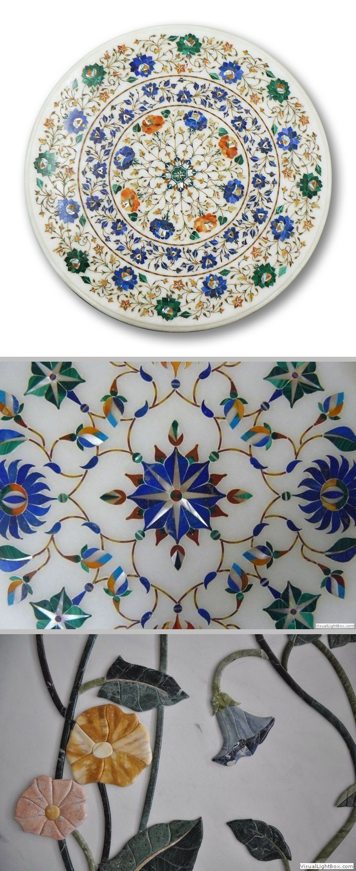 """Pietra Dura, a term derived from the Italian language meaning """"hard stone,"""" is the technique of engraving artistic designs in marble and filling the troughs with finely cut precious / semi-precious stones.  Developed in Rome, pietra dura traveled to Persia and then to India.  The Taj Mahal of India & the Basilica of San Lorenzo in Florence are enduring legacies of this exquisite art form.  #heritage #culture"""