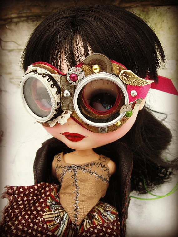 OOAK Steampunk Leather Goggles for Blythe by cindysowers on Etsy, $67.00