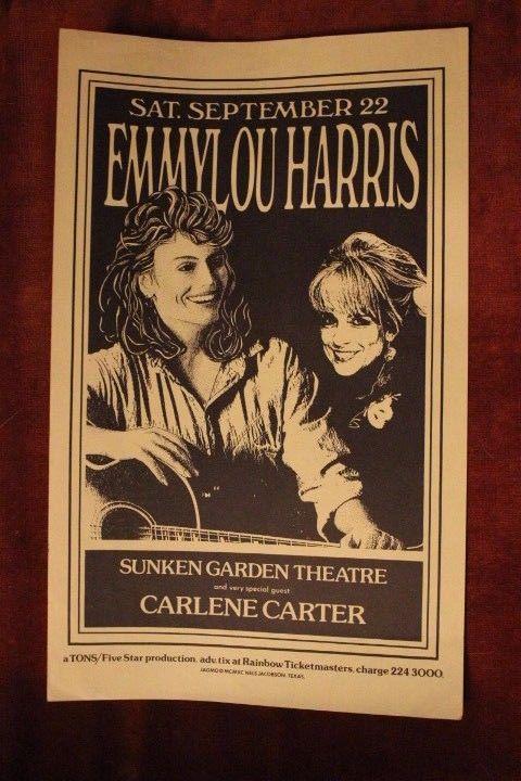 EMMYLOU HARRIS + CARLENE CARTER San Antonio TEXAS (1990) Concert Flyer/Poster