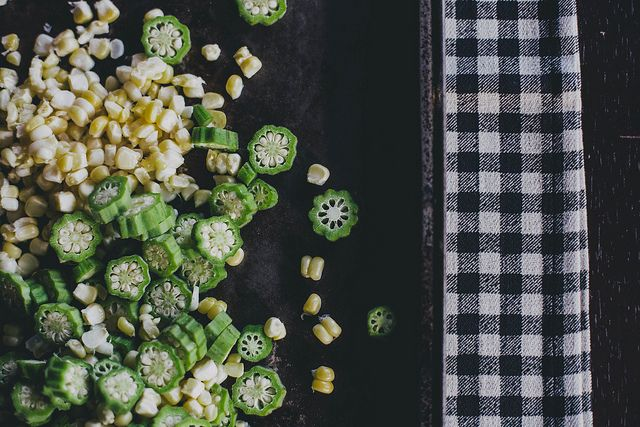 roasted corn & okra with bacon and goat cheese by Beth Kirby   {local milk}, via Flickr