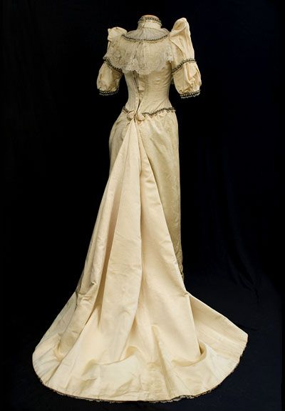 back view of a Wedding gown, circa 1883