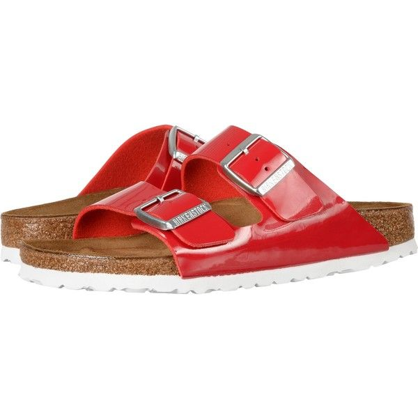 Birkenstock Arizona (Tango Red Birko-Flor) Women's  Shoes ($80) ❤ liked on Polyvore featuring shoes, red, evening shoes, red evening shoes, red shoes, flexible shoes and shock absorption shoes
