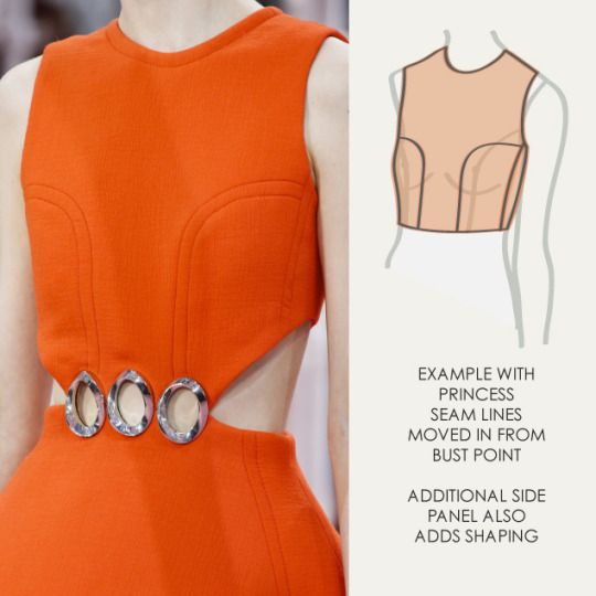 Bust Shaping with Panel Lines at Dior | The Cutting Class. Christian Dior, SS15, Haute Couture, Paris, Image 3. Example with princess seam lines moved in from bust point.