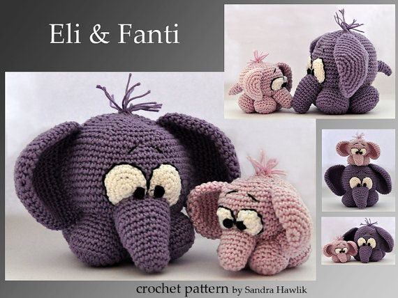 crochet pattern, amigurumi, Häkelanleitung,Elefanten- pdf, English or German on Etsy, 4,18 €