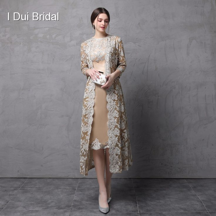 Two Piece Mother of the Bride Dress with Long Lace Jacket Knee Length Three Quarter Sleeve -in Mother of the Bride Dresses from Weddings & Events on Aliexpress.com | Alibaba Group