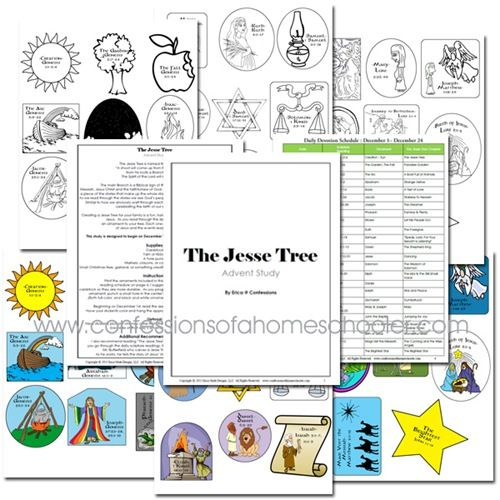 Jesse Tree- free download unit study and printable ornament cutouts to have the kids color daily!