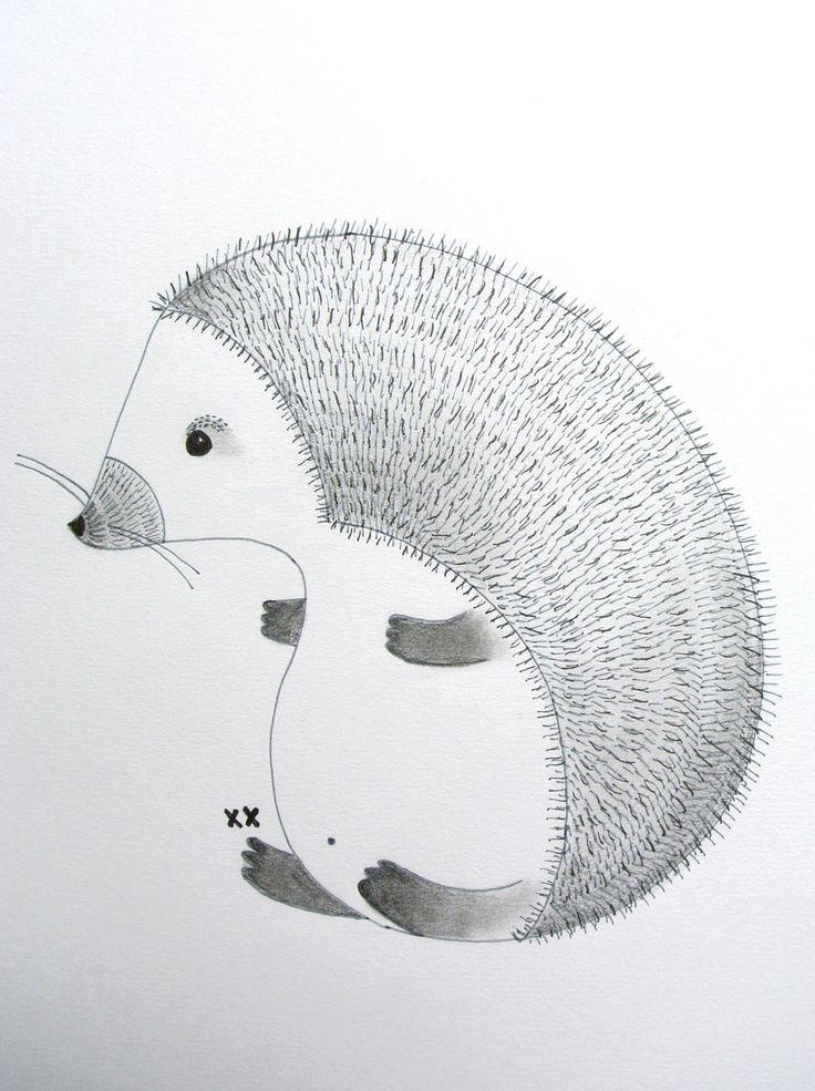 illustration hedgehog | illustratie egel | kinderkamer www.kinderkamervintage.nl