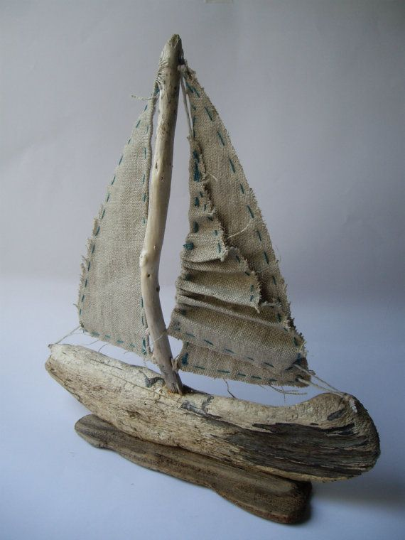Driftwood Sailboat with Folded Sail by purestylecrafts on Etsy, £20.00