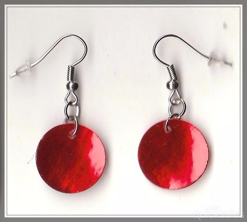 Red Mother of Pearl Bead Silver Tone Earrings  by MadAboutIncense - $8.50