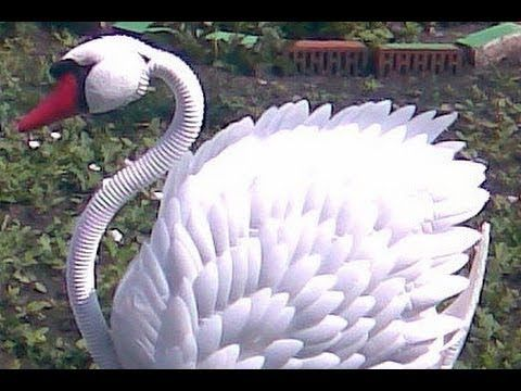 How to make a swan out of plastic bottles and old tires - YouTube