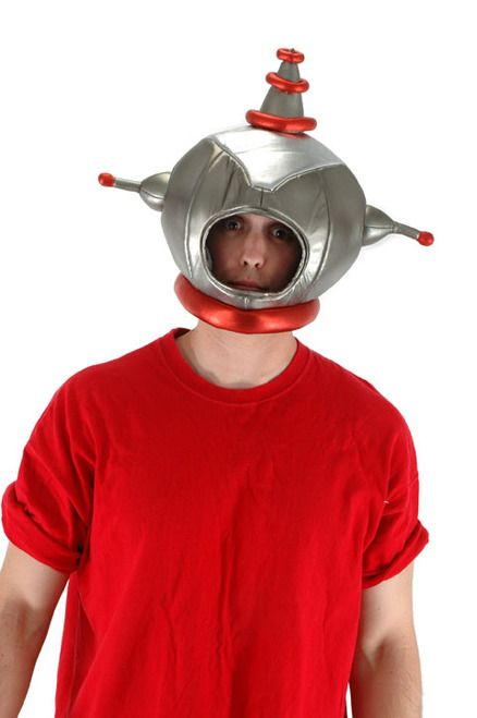 Funny Space Man Helmet Hat - Danger! Danger! Head up into outerspace in this awesome Space man helmet hat!   The Spaceman helmet hat is made of a shiny foil fabric. At the base is a stuffed red collar. Underneath is foam so it holds the shape. There is an opening for your face. On each side is an antennae with a little red ball. The top has a pointy antennae with one large round red puff (not three separate like in the picture).   #space #yyc #costume #helmet