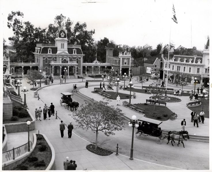 City Hall, the Firehouse and the Emporium are featured in this great vintage view of Disneyland's Town Square (Chicago Sun Times press photo, January 7, 1962) | Vintage Disneyland Tickets