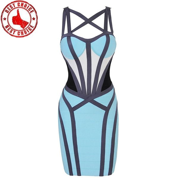 Criss-Cross Bandage Farbblock Bandage Kleid