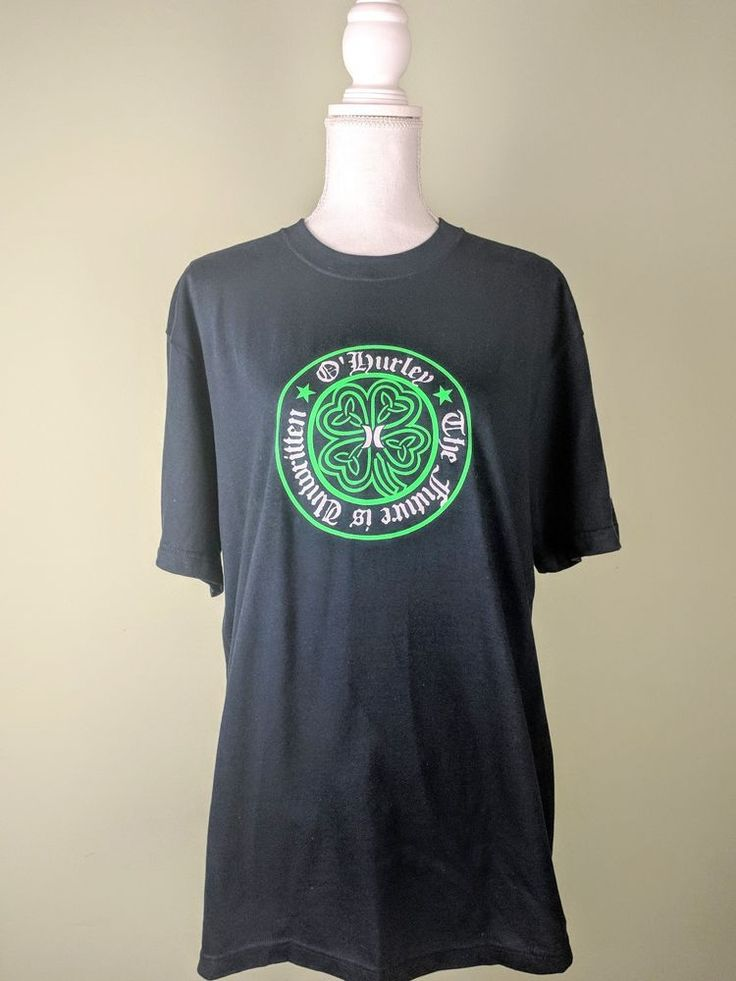 RARE Hurley O'Hurley The Future Is Unwritten Celtic Knot Shamrock T-Shirt Mens L #Hurley #GraphicTee