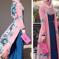Long shirt dress, pink floral