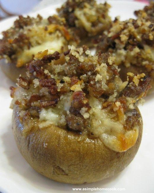 stuffed mushrooms.  Sausage,mozz cheese, panko crumbs,yum!