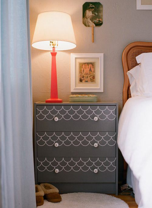 How to make IKEA look amazing: An IKEA nightstand painted grey, with scalloped decals.