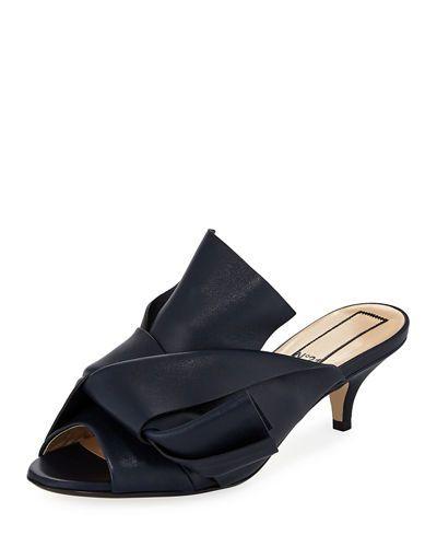 1243638c777 X3RMR No. 21 Pleated Leather Low-Heel Slide Sandal