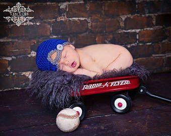 Recién nacido de ganchillo hacia atrás béisbol Cap/béisbol sombrero/ganchillo fotografía recién Prop lactante Halloween traje bebé ducha regalos