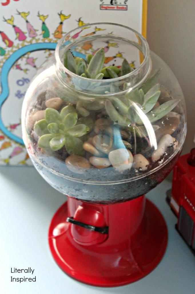 use a candy machine or other unique container for your indoor garden gardening