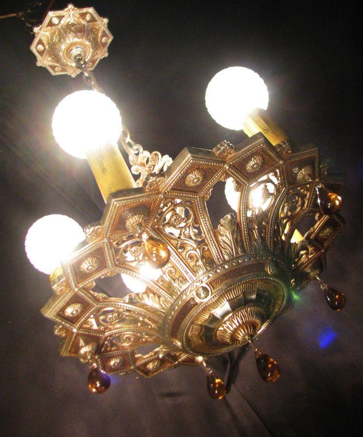 Light Fixtures Rochester Ny: Art Deco Antique Vtg Original Victorian ISCO Chandelier